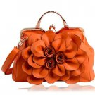 Thanksgiving Gift Orange Floral Bags FREE SHIPPING Orange Leather Bags FREE Jewelry Set