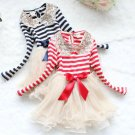 Christmas Dress for Girls Striped Candy Canes Sequined Golden Peter Pan Collar
