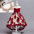 Formal Christmas Dress for Toddler Girls with Golden Fake Collar Necklace Red Wine Color Dress