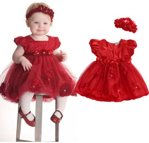 Beautiful Red Dress for Christmas Dress with Matching Red Headband Ruffled Dress for Girls