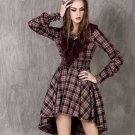 Fall Season Costume Lacy Vintage Dress for Women Purple Dress for Women Checkered Dress