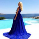 Royal Blue Maxi Dress Prom Outfit Embroidery Lacy Stretchable Floor Length Maxi Dress for Women