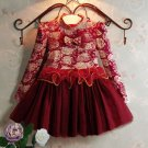 SALE Red Wine Color Christmas Dress for Little Dress for Burgundy with Golden Trim Red Ruffled Dress