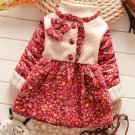 Fall Season Outfit for Infant Girls Printed Little Flowers Wool Red Trench Coats for Girls