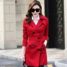 Christmas Gift to Wifey Red Trench Coats for Women Red Coats with Buckles