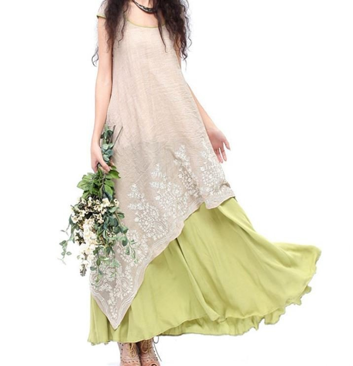 Ready to Ship Linen Maxi Dress for Women Ivory Dress for Teenage Girls