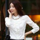 White Silk Blouses for Secretary Women Classic Style Free Shipping Ruffled White Blouses