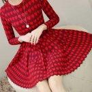 Fashion Dress for Teenage Girls Heart Pattern Elegant Valentine Dress High Quality Red Dresses