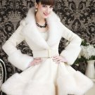 S-XL Princess White Trench Coats for Women US Size 8 Overcoats Knee Length Faux Fur Wool Coats