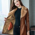 Very Soft Fur Brown Leather Jackets FREE SHIPPING Brown Leather Trench Coats for Women