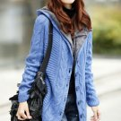 Blue Sweater for Women Cozy Faux Fur Lining Hooded Casual Sweaters with Big Buttons