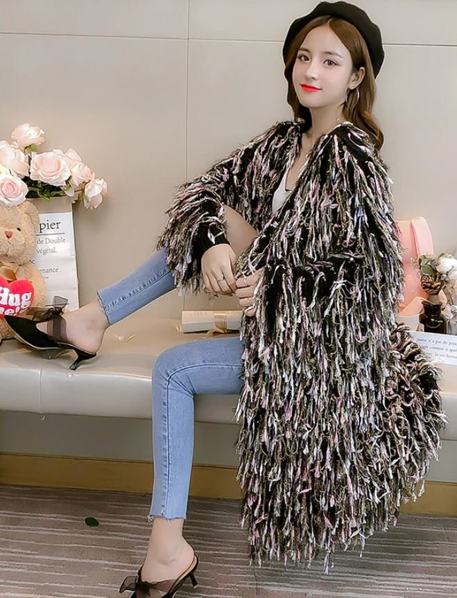 RSS Boutique Lazy Mohair Tassels and Fringe Long Black Sweaters Black Cardigan for Women