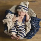 Cute Newborn Boys 0-3 Months Elf Hat with Pant Newborn Props Navy Blue and Beige Hats