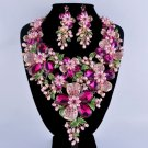 Floral Pink Jewelry Set Statement Floral Pink Necklace Simulated Pearl Party Pearl Jewelry Set