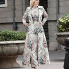 Luxury Ivory Trench Coats for Women Jacquard Embroidery Brocade Turquoise Button Floral Pattern