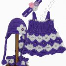 SARIASKNITNCROCHET Newborn Girls Dress with Matching Baby Hat, Headband and Booties
