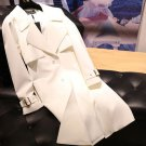 Newest Elegant White Trench Coats for Elegant Women Twinning First Lady Melania T. Golden Buckles