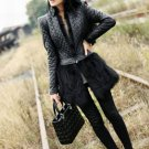 Separable Leather Jackets Plus Size Clothing Black Cropped Jacket Winter Quilted Rabbit Fur Long Hem