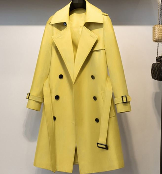 RSS Boutique Fashion Trend Yellow Trench Coats with Belt Windbreaker Elegant Style
