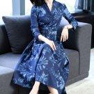 NEW Denim Dresses Printed Floral Denim Maxi Dress for Women Elegant Long Sleeves Dress for Women