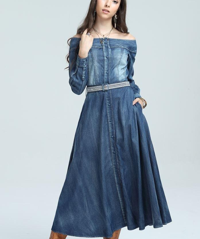 RSS Boutique Off Shoulder Denim Maxi Dress for Women Western Style Denim Dresses