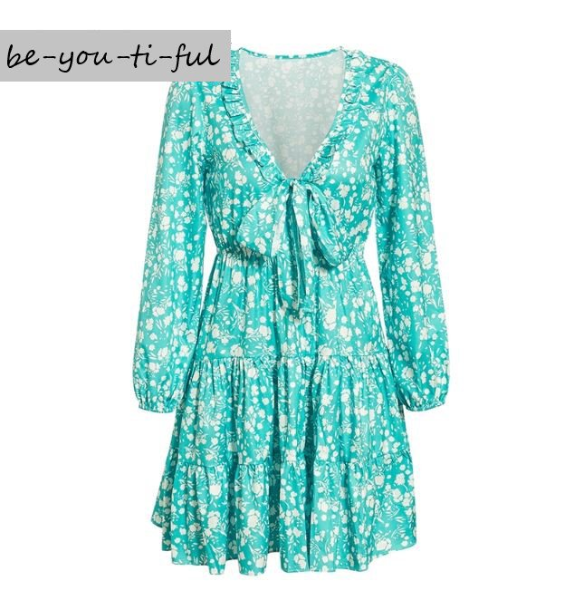 RSS Boutique Preferred Ruffled Above Knees Dress for Women Mintgreen Floral Dress for Summer