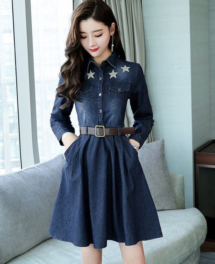Western Dress for Women with Leather Belt Patched Stars for Denim Dress Teenage Girls Denim