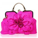 Magenta Tote Bags for Women Hot Pink Shoulder Bags with Luxury Big Floral Patchwork