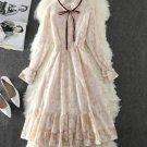 Pretty Vintage Ivory Dress for Women Ruffled Mandarin Collar Ivory Dress for Teenage Girls