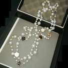 Free Shipping Double Pearl Necklace for Women Fashion New CC Necklaces with Floral Accents