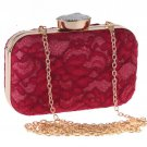 Red Clutch for Women Fashion World Phone Holder Embroidery Laced Bags