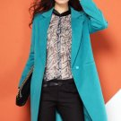 New Fashion Long Blazers Warm Wool and Blends Turquoise Blazers for Women