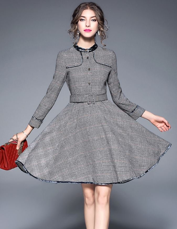 Houndstooth Dress Coats for Women Plaid Winter Dresses Gray Trench Coats with Velvet Collar