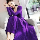 Knitted Dress One Size Purple Maxi Dress Free Shipping Purple Stretchable Long Dresses