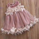 5t/6t Casual Dress for Toddler Girls Photography Props Floral Hem Lavander Summer Dress