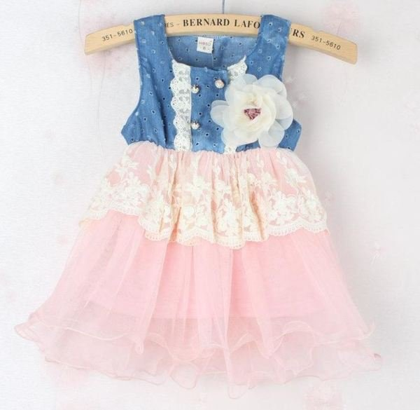 Free Shipping Soft Pink Denim Dress for Infant Dress Lace Waist Ivory Pink Tutu Dress for Spring
