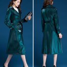 Unique Shimmering Coats Luxury Trench Coats for Women Teal Blue Green Color