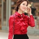 New Women Spring and Summer Fashion Style Tops Blouse -Red Ruffled Top Blouse