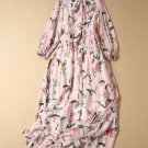 Elegant Long Dresses Bowtie Necktie Dress Pink Maxi Dresses for Princesses Printed Pink Dress