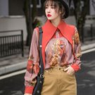 New Orange Blouse for Plus Size Women Loose Style Fall Season Collar Unique Blouses for Women