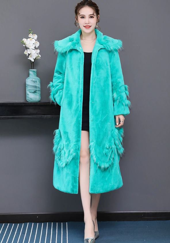 Beautiful Turquoise Blue Trench Coats for Women New Trend Overcoats Soft and Cozy