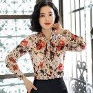 Luxury Blouses Monogram Light Brown Golden Ruffled Blouses for Women Printed Red Roses