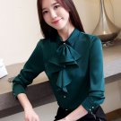 Green Blouses for Women Ruffled Front