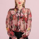 Silk Blouses for Women Printed Rose Bowtie Necktie