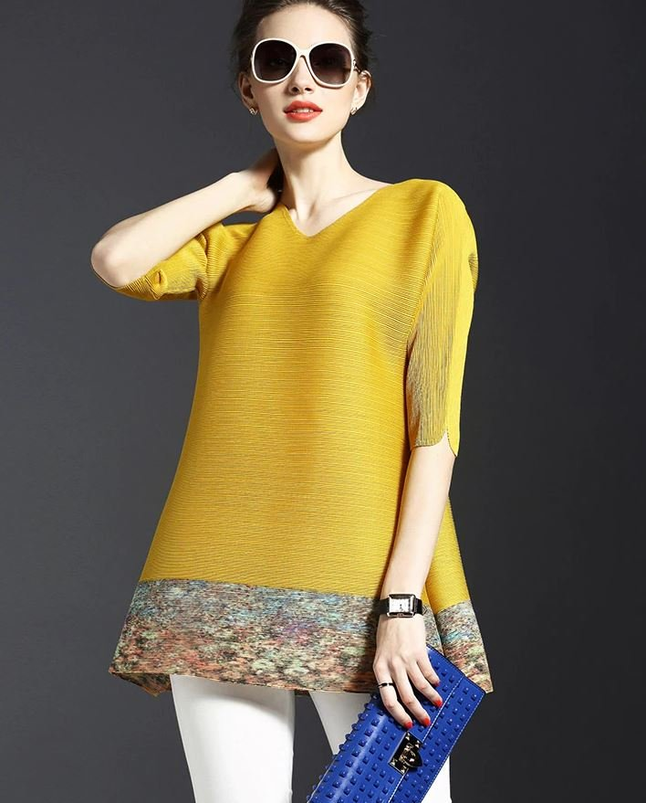 New fashion Trend Yellow Blouse Solid Style