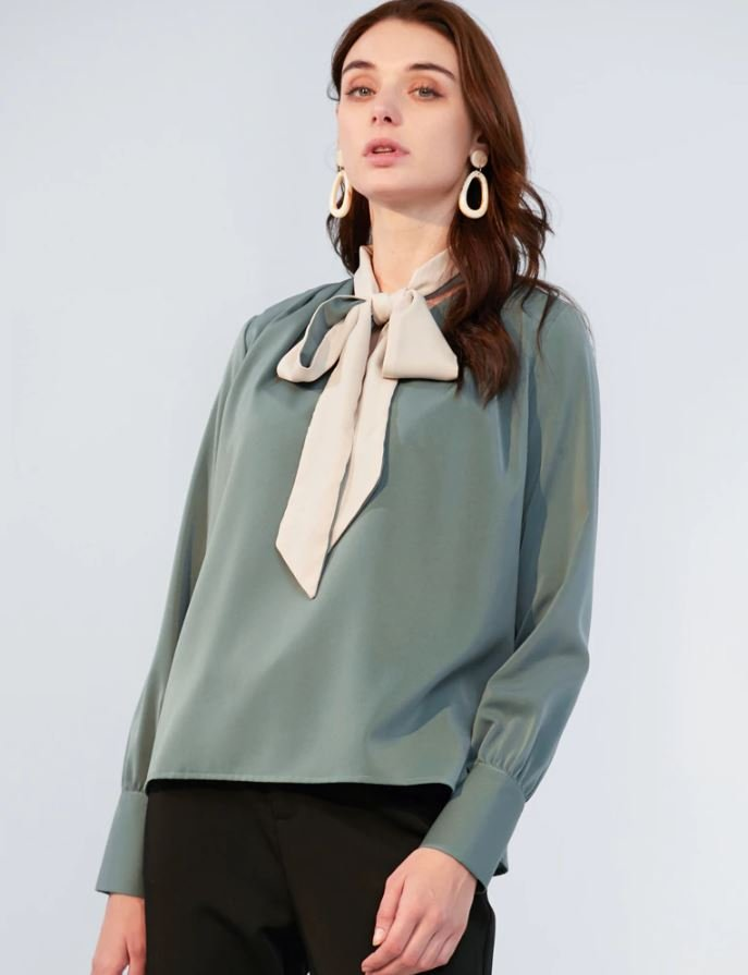 Plus Size Clothing Bella Blouses Green Color Loose Style Spring Tops for Women