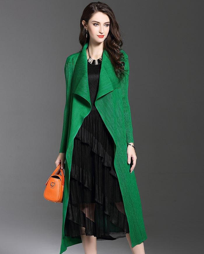 Outerwear Green Long Cardigan for Women Super Fold Big Lapel Fashion Style for Women