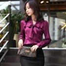 SALE! Purple Magenta Blouse for Women Free Shipping Bowtie Office Work US Size Medium
