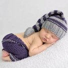 Purple Stripe Hat with Matching Purple Pant for Newborn Boys Props Photography Items
