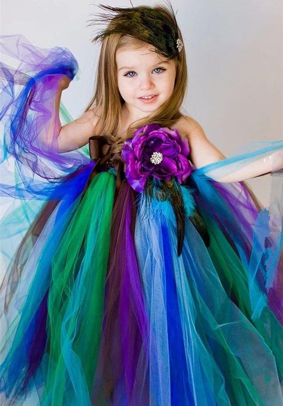 Fashion Baby Dress Peacock Dress Photography Props FREE Peacock HEADBAND